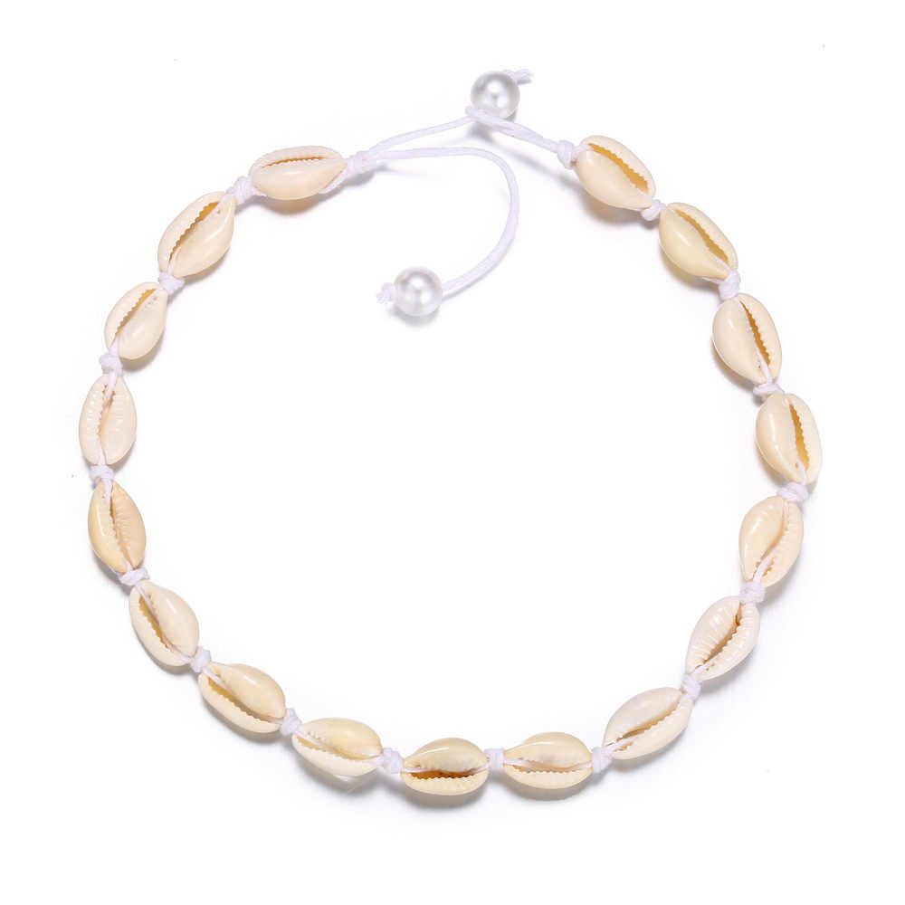 2020 Heißer Verkauf Hawaiian Strand Puka Shell Chip Surfer Choker Halskette für Frauen Visco Gilr Boho Imitation Perle Chocker Halsketten