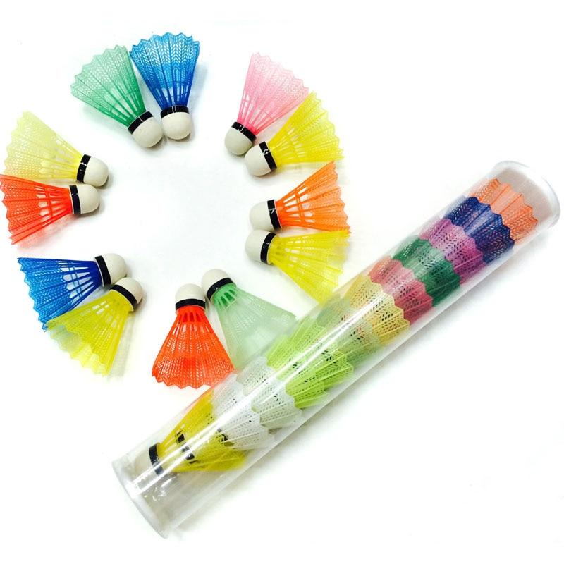 12 Pcs/set White Random Color Plastic Nylon Foam Ball Head Badminton Shuttlecocks Game Sports Training Exercise Equipment