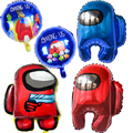Фольгированные шары Amonged, шары для вечевечерние в стиле игры, большой синий красный герой, баннер на день рождения, украшение, пистолет Crewmate, ...