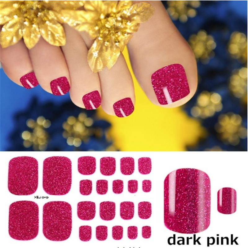 1 Sheet Full Cover Toe Nail Art Glitter Toenail Sticker Sparkling Foot Decals Dark Pink Sexy Summer Style Manicure Drop Ship