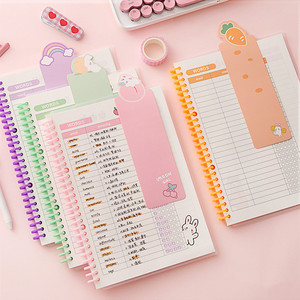 MINKYS Kawaii B5 Loose-leaf Refillable Vocabulary Word Book Foreign Languages Memory Study Notebook Japanese School Stationery