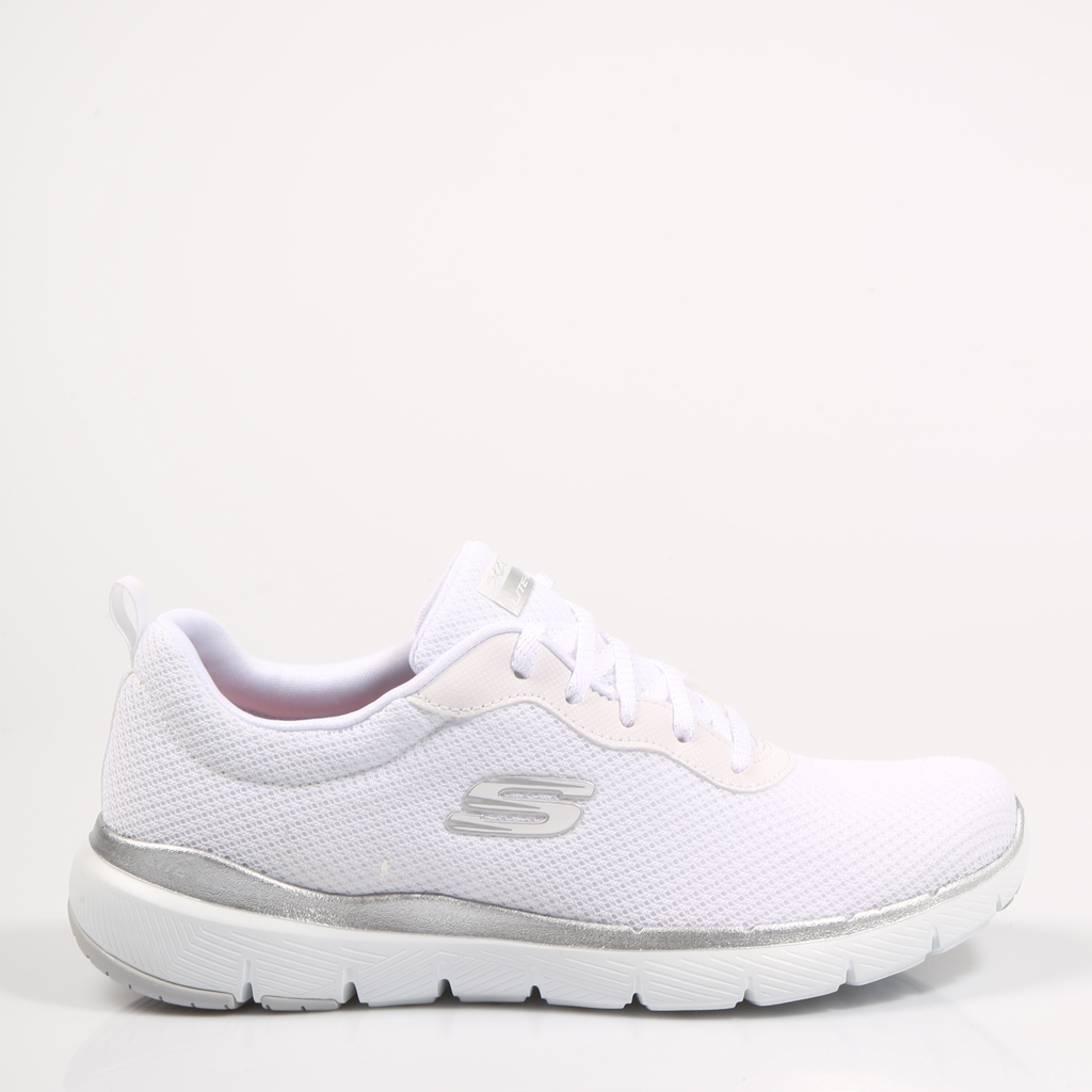 SKECHERS ZAPATILLAS FLEX APPEAL WHITE/SIL 13070 Blanco Lona Mujer – White SNEAKERS Woman Shoes Casual Fashion 71628