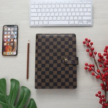 Luxury Loose-Leaf White Plaid Checkboard Planner Cover A5 Refillable PU Leather Brown 6 Ring Binder Checkered Notebooks Journal