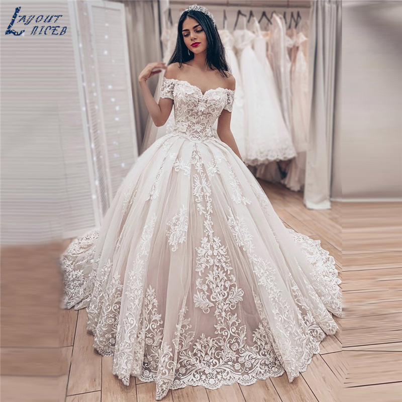 LN001 2020 Hot Sale Luxury Ball Gown Sexy Off The Shoulder Wedding Dress Elegant Lace Wedding Dress Bridal Gown Robe De Mariee