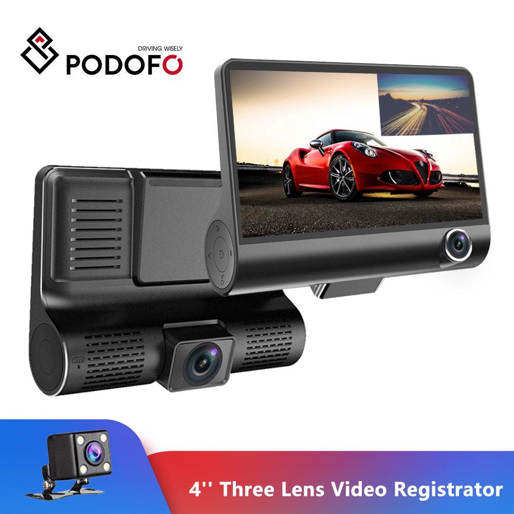 Podofo Car DVR Video-Recorder Rearview-Camera Auto-Registrator-Dvrs Dual-Lens With 4''