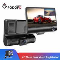 Podofo 4 ''A Tre Lente Auto DVR 3 Telecamere Lens Macchina Fotografica del Precipitare Dual Lens Con Telecamera Per La Retromarcia Video Registratore Auto registrator Dvr