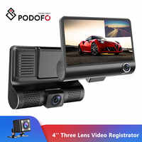 Podofo 4'' Three Lens Car DVR 3 Cameras Lens Dash Camera Dual Lens With Rearview Camera Video Recorder Auto Registrator Dvrs