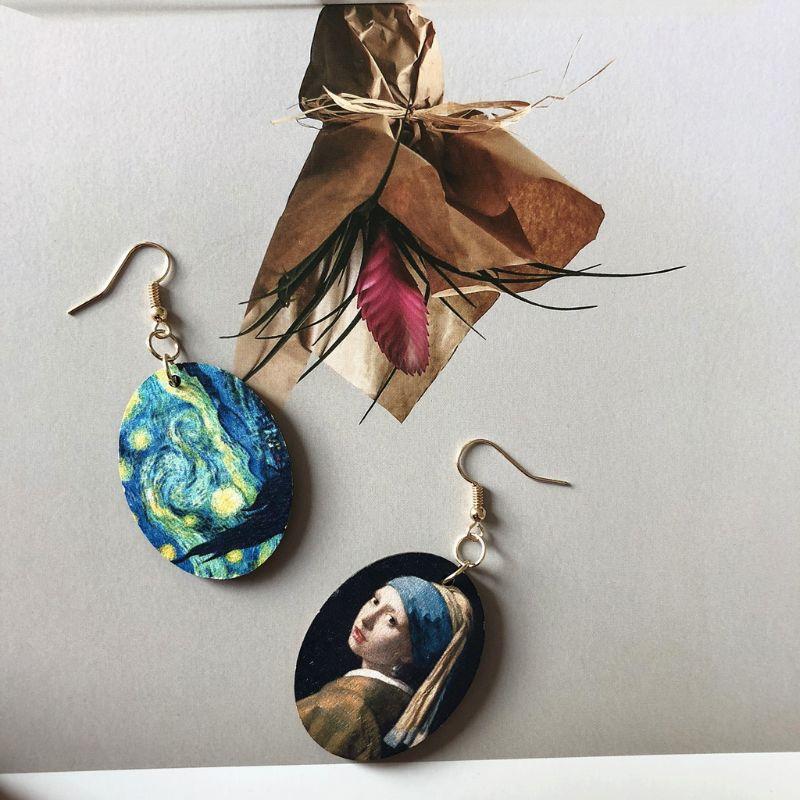 Johannes Oil Painting Art Girls Natural Wood Earrings Fashion Jewelry N58F
