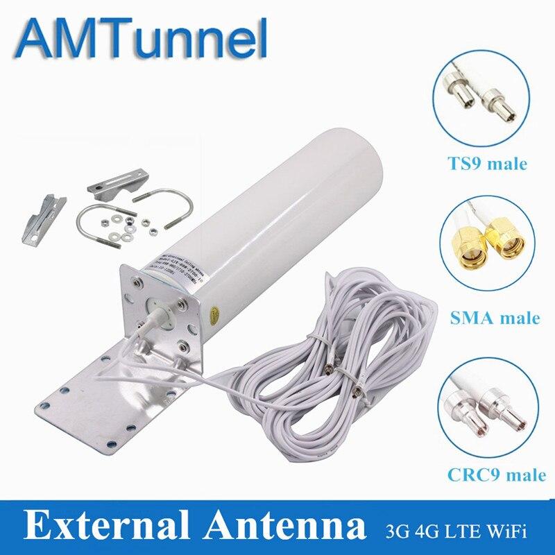 Antenne WiFi antenne CRC9 4G LTE SMA 12dBi antenne Omni 3G TS9 mâle 5m double câble 2.4GHz pour Huawei B315 E8372 E3372 ZTE routeurs