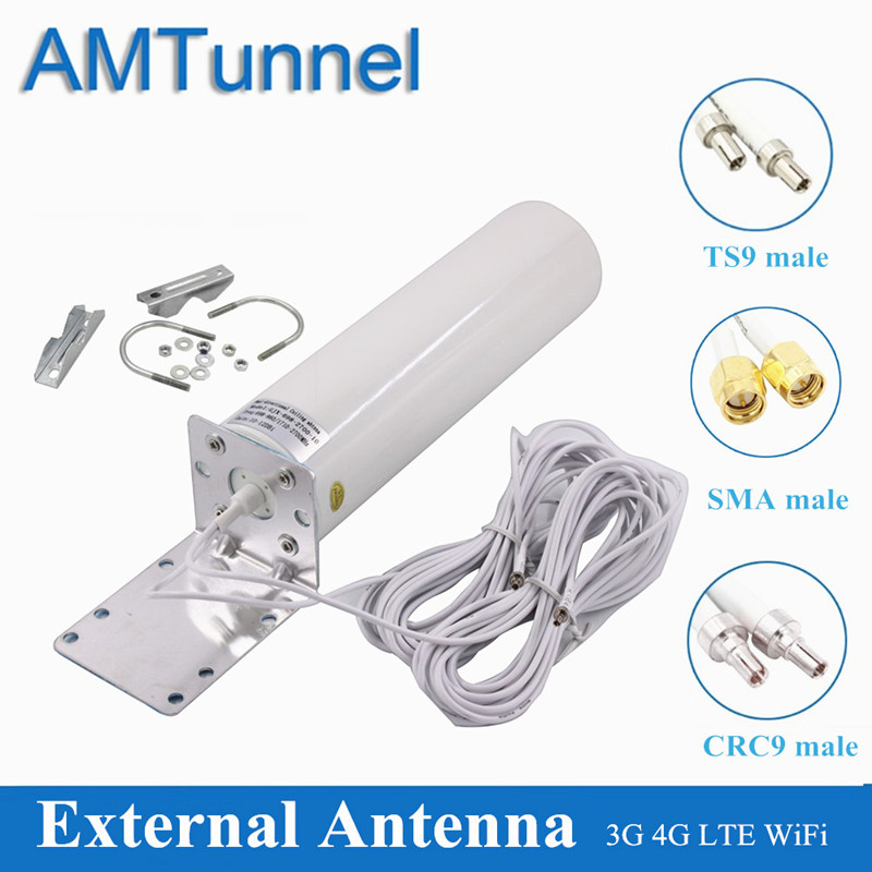 WiFi antenna 4G LTE antena SMA 12dBi Omni antenne 3G TS9 male 5m dual cable 2.4GHz CRC9  for Huawei B315 E8372 E3372 ZTE routersCommunications Antennas   -