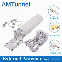 Antena WiFi 4G LTE antena SMA 12dBi Omni antenne 3G TS9 hombre 5m cable dual 2,4 GHz CRC9 para Huawei B315 E8372 E3372 ZTE routers(China)
