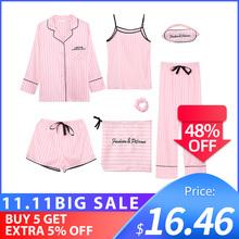 Lipca SONG różowy kobiet 7 sztuk piżamy ustawia sztuczny jedwab paski piżamy kobiety piżamy zestawy wiosna lato jesień Homewear tanie tanio JULY S SONG Poliester Stałe CN (pochodzenie) WOMEN Faux Silk A8E0101-0028 Skręcić w dół kołnierz Pełnej długości