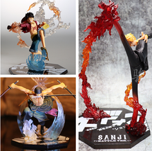 One Piece 3D2Y Luffy Zoro Three-knife Ghost Cut Sanji Diable Jambe Battle Ver. PVC Action Figure OP Luffy Sanji Collection Model(China)