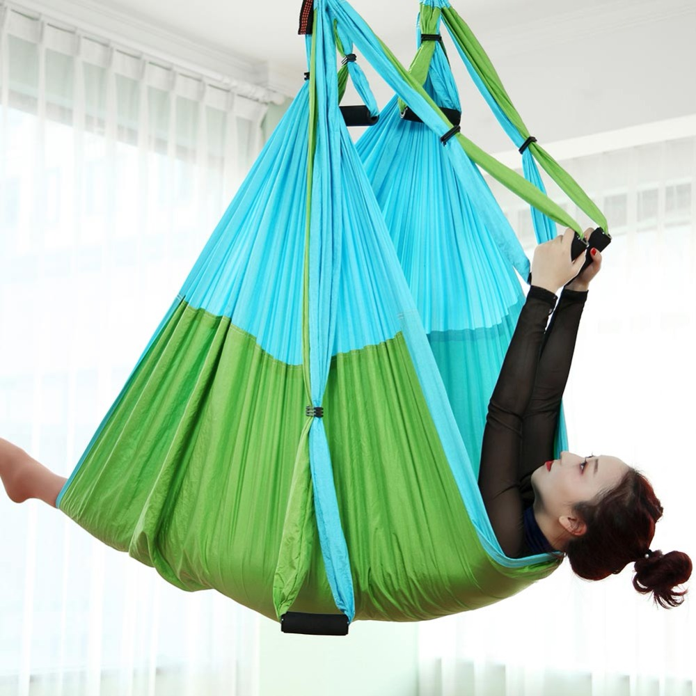 Color MatchingAnti-gravity Aerial Yoga Hammock Full Set Flying Swing Trapeze Yoga Inversion Exercises Device Home GYM Hanging