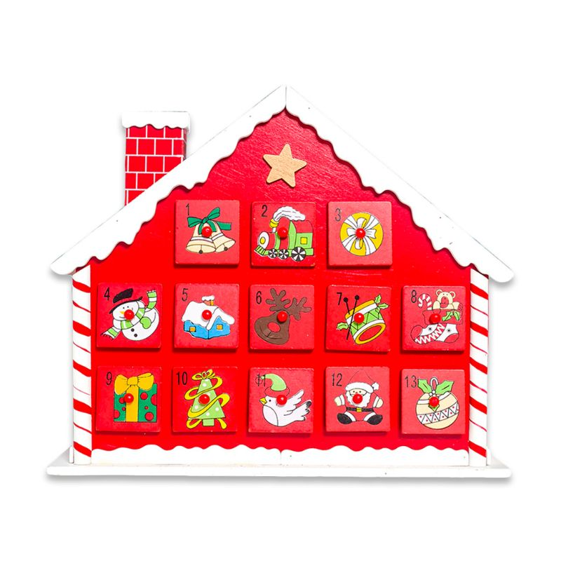 Christmas Wooden House Countdown Advent Calendar 24 Drawers Candy Gift Holder High Quality and Brand New