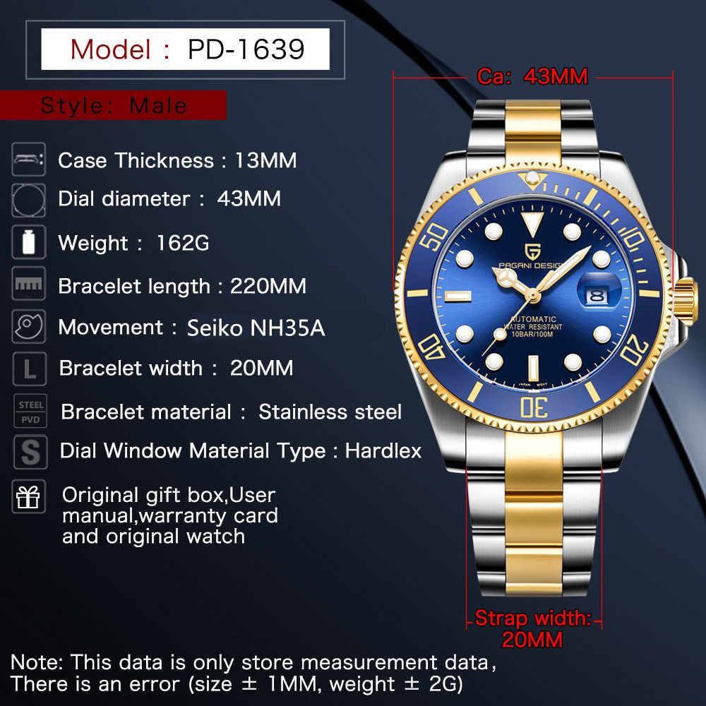 2020 PAGANI تصميم الرجال التلقائي ساعة ميكانيكية موضة العلامة التجارية الإبداعية الفاخرة مقاوم للماء ساعة Relogio Masculino PD-1639