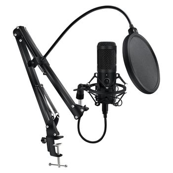 Metal USB Microphone Condenser Recording Microphone Wired Mic with Stand for Computer Laptop PC Karaoke Studio Recording 1
