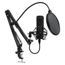 Metal usbli mikrofon kondenser kayıt mikrofonu D80 mikrofon standı ile PC dizüstü bilgisayar için Karaoke stüdyo kayıt