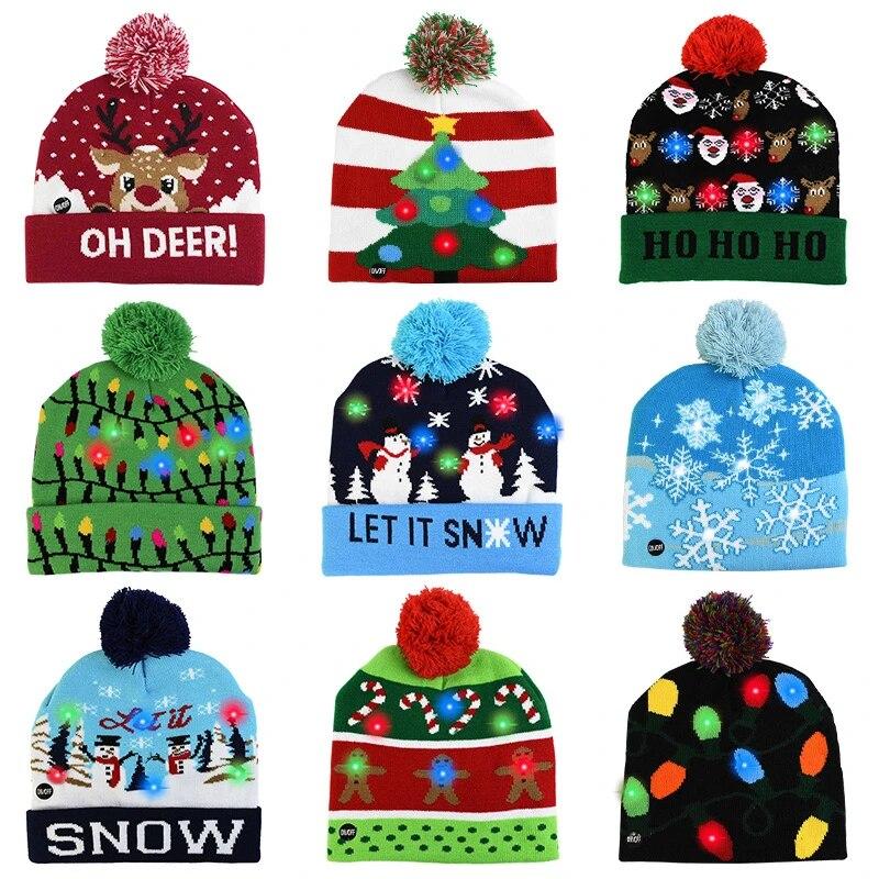 Светодиодная Рождественская шапка, свитер, вязаная шапочка, Рождественская вязаная шапка с подсветкой, рождественский подарок для детей, новогодние украшения 2021 года