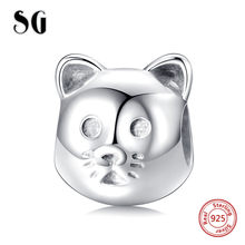 SG New Sterling Silver 925 customized cat head beads animal charms Fit Original pandora bracelets Jewelry making for women Gift(China)