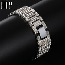 Hip Hop Iced Out Bling Band Link Chain Bracelets Full Rhinestones Gold Silver Watch Bangles for Men Rapper Jewelry