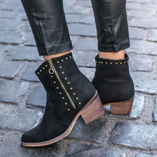 ankle boots for woman winter shoes autumn vintage PU leather rivets booties high heels  mujer zapatos A129