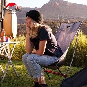 Image 4 - Naturehike açık kamp ay sandalye taşınabilir Ultralight balıkçı taburesi ofis ev mobilyaları katlanır arkalığı sandalye ayı 300kg