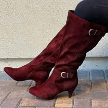 Женские сапоги осень зима новые модные на высоком каблуке средние