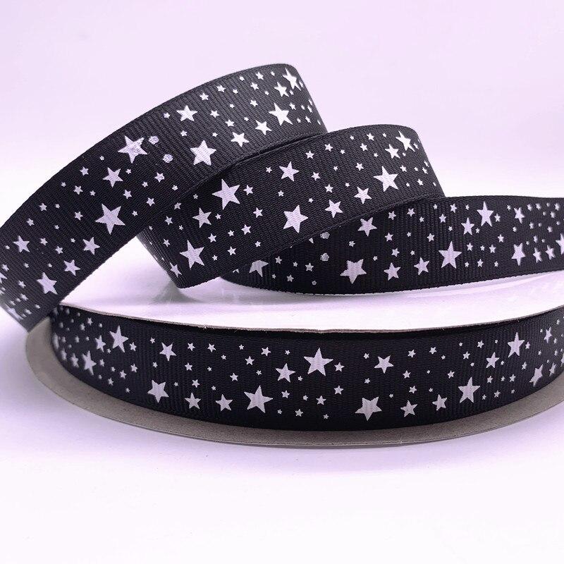 5 ярдов 15 мм 20 мм 25 мм 38 мм черная корсажная лента с принтом звезд для рождественского свадебного украшения «сделай сам» для шитья ручной раб...