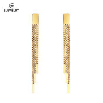 Pendientes de cadena de acero inoxidable con borlas colgantes con cristal para mujer, 3 filas de eslabones para pendientes y joyas para boda 2019