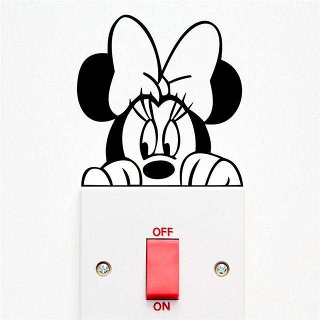 Disney Mickey Minnie Mouse Switch Stickers Bedroom Home Decor Accessories Cartoon Wall Decals Vinyl Mural Art Diy Decoration