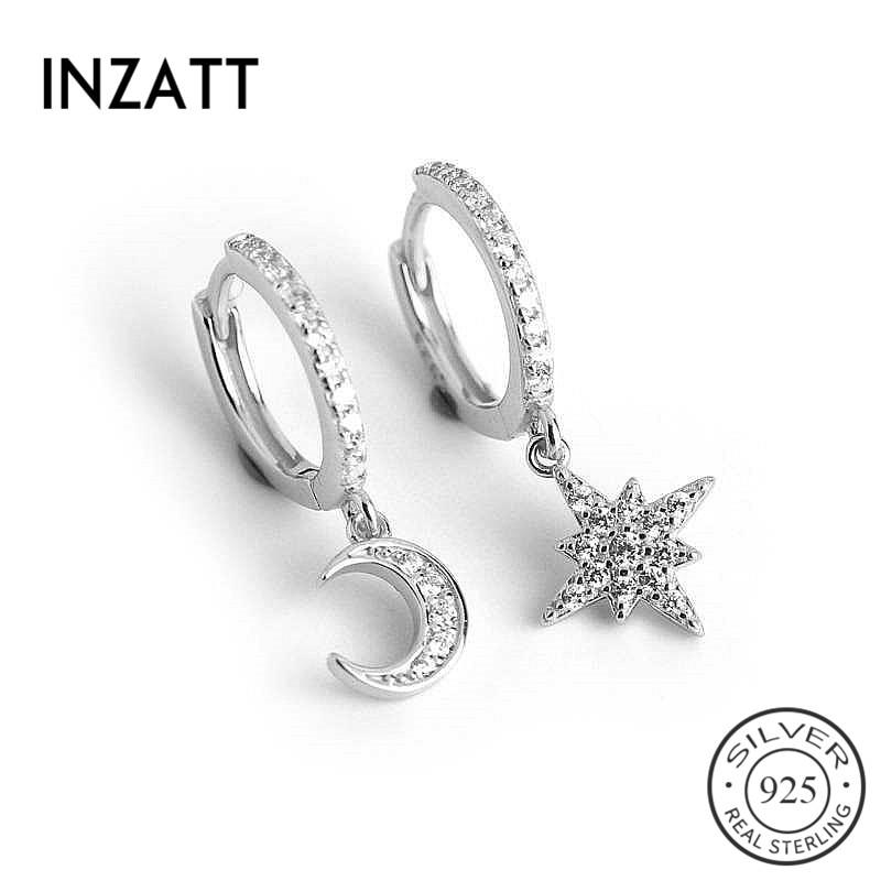 INZATT Real 925 Sterling Silver Zircon Moon Star Hoop Earrings For Fashion Women Party Fine Jewelry Cute Accessories Gift