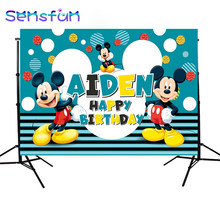 Blue Mickey Mouse Photography Background for Photo Studio Children Birthday Photophone Banner Customized Backdrops 220x150cm(China)