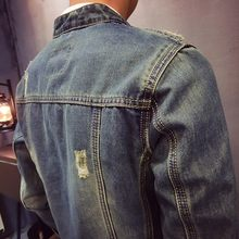 High Quality Vintage Frayed Denim Jacket Men Fashion Slim Fit Stand Collar Zippers Male Coat Autumn Mens Jeans Jacket Streetwear(China)