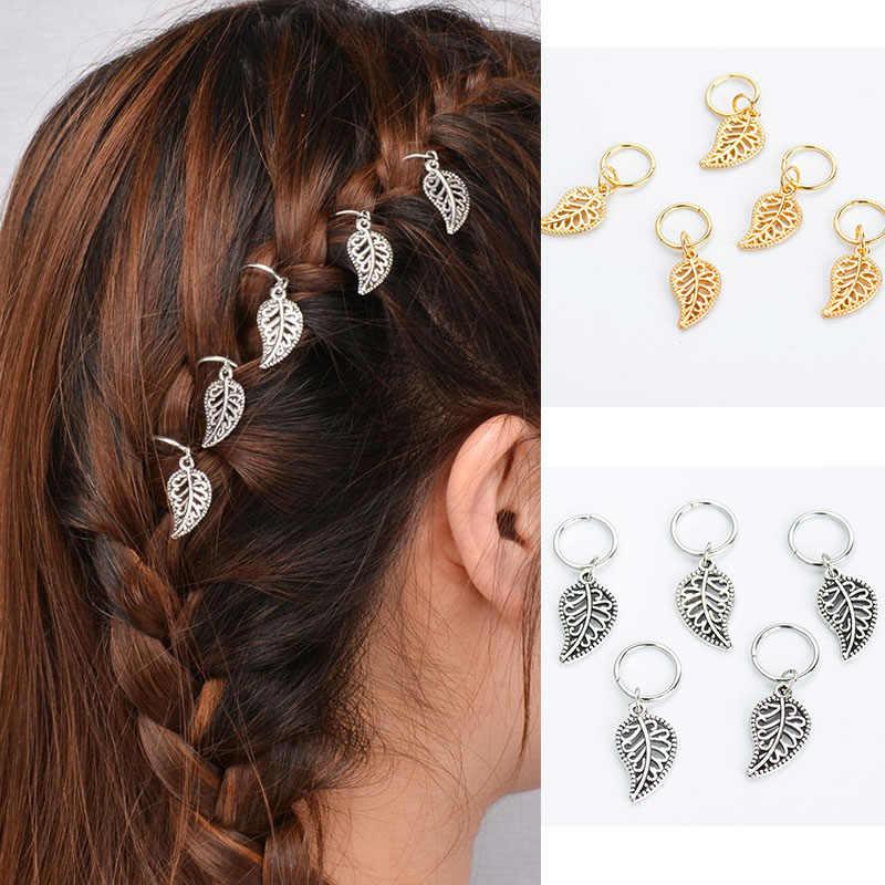 新デザイン 5 ピース/セット女性合金金属サークルフープツイスト編組髪飾りステンレスチャーミング声明編組ペンダントヘアアクセサリー