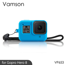 Vamson Soft Silicone Rubber Frame Protective Case Adjustable Wrist Strap For Gopro Hero 8 Black Camera Accessories Blue  VP653