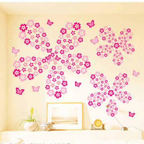 108 Uds Flores y 6 uds. Pegatinas de mariposa para pared Sala dormitorio arte calcomanías mobiliario decoración hogar pegatinas bebé guardería