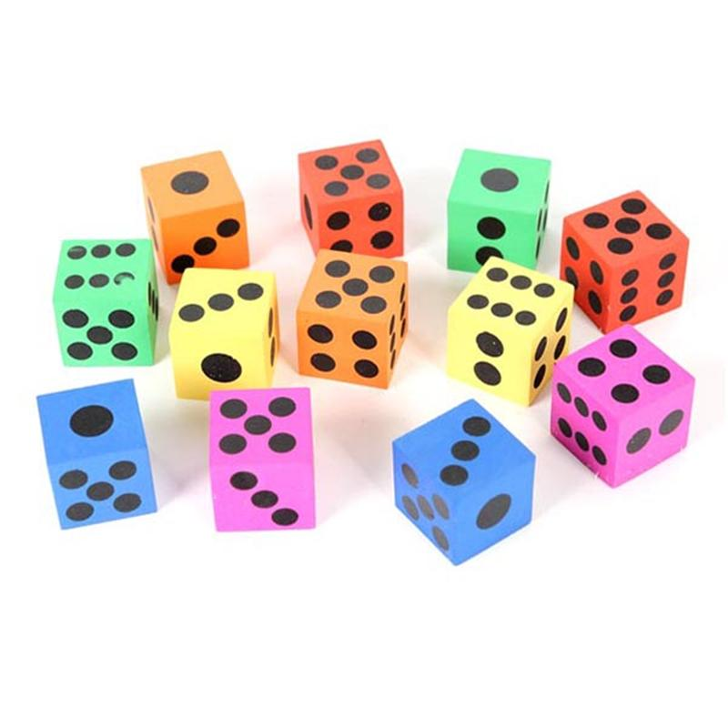 12 Pcs Children Big Dice Housework Playing Foam Dice For Kids (Random Color)