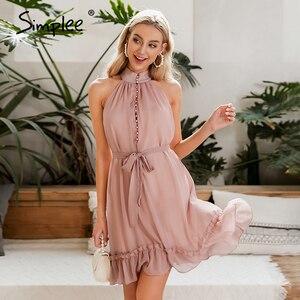 Image 3 - Simplee Sexy vestido de mujer sin mangas liso con volantes botones de fajín fiesta verano vestido Casual vacaciones señoras gasa playa mini vestido