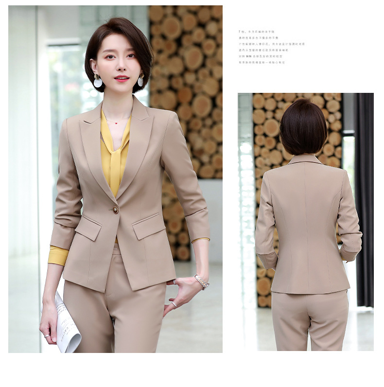 High quality business pants set Autumn new slim long-sleeved women's blazer Temperament office suit Workwear two-piece suit