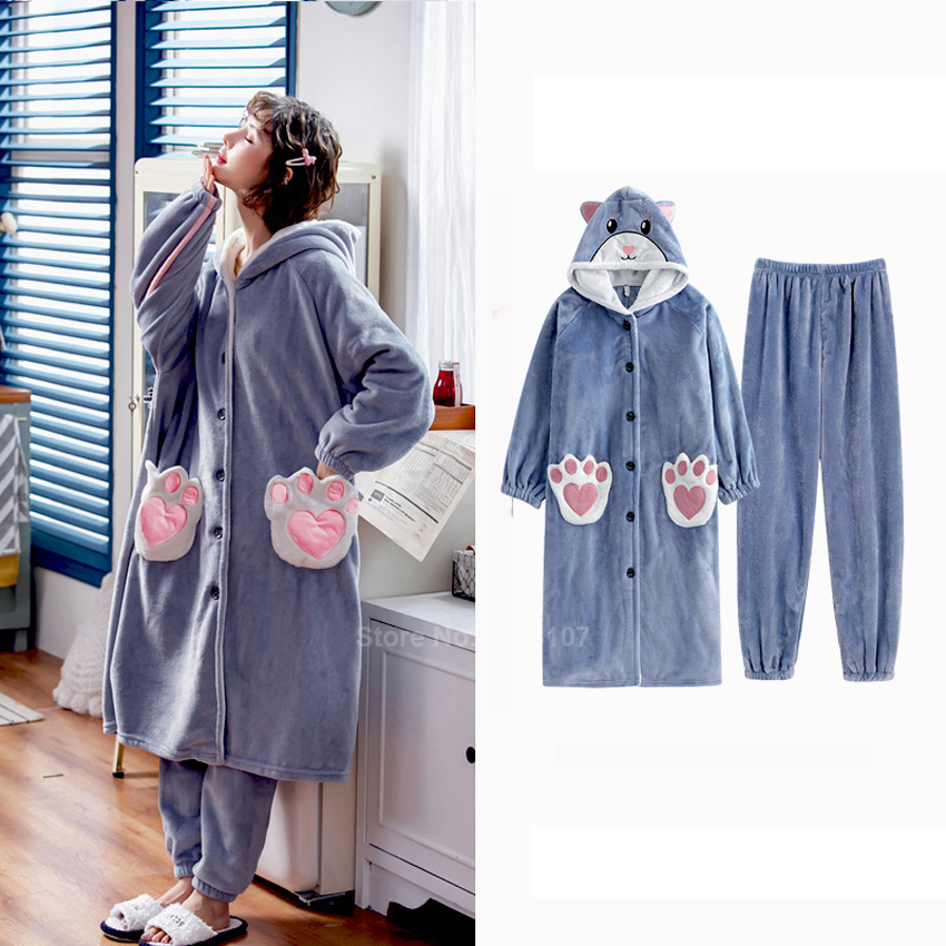 Women Cute Pajamas Set Japanese Style Kawaii Cat Kitty Pet Claws Role-playing Fleece Flannel Sleepwear Winter Warm Bathing Robe