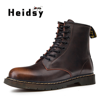 Heidsy New Arrival Men Boots Genuine Leather Winter Men's Warm Lace Up Desert Round Toe High Top Shoes - discount item  51% OFF Men's Shoes
