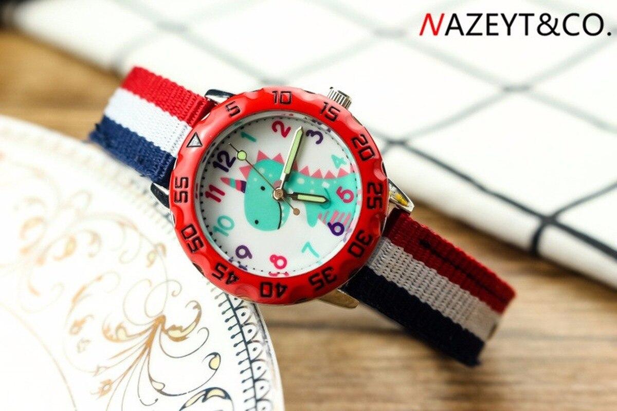 New Lovely Children Cartoon Dinosaur 3 D Quartz Watch Private Noctilucent Pointer Ribbon Nylon Wrist Watch