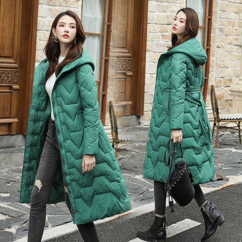 Thin Down Jacket Cotton-padded Clothes Women's Hooded 2019 New Style Korean-style Mid-length Over-the-Knee Cotton-padded Clothes
