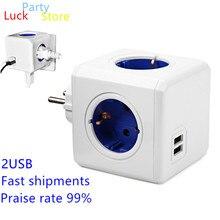 цена на Hot Useful Creative Charging Dock Power Cube Socket EU Plug 4 Outlets with 2USB Socket Adapter-16A 250V Powercube