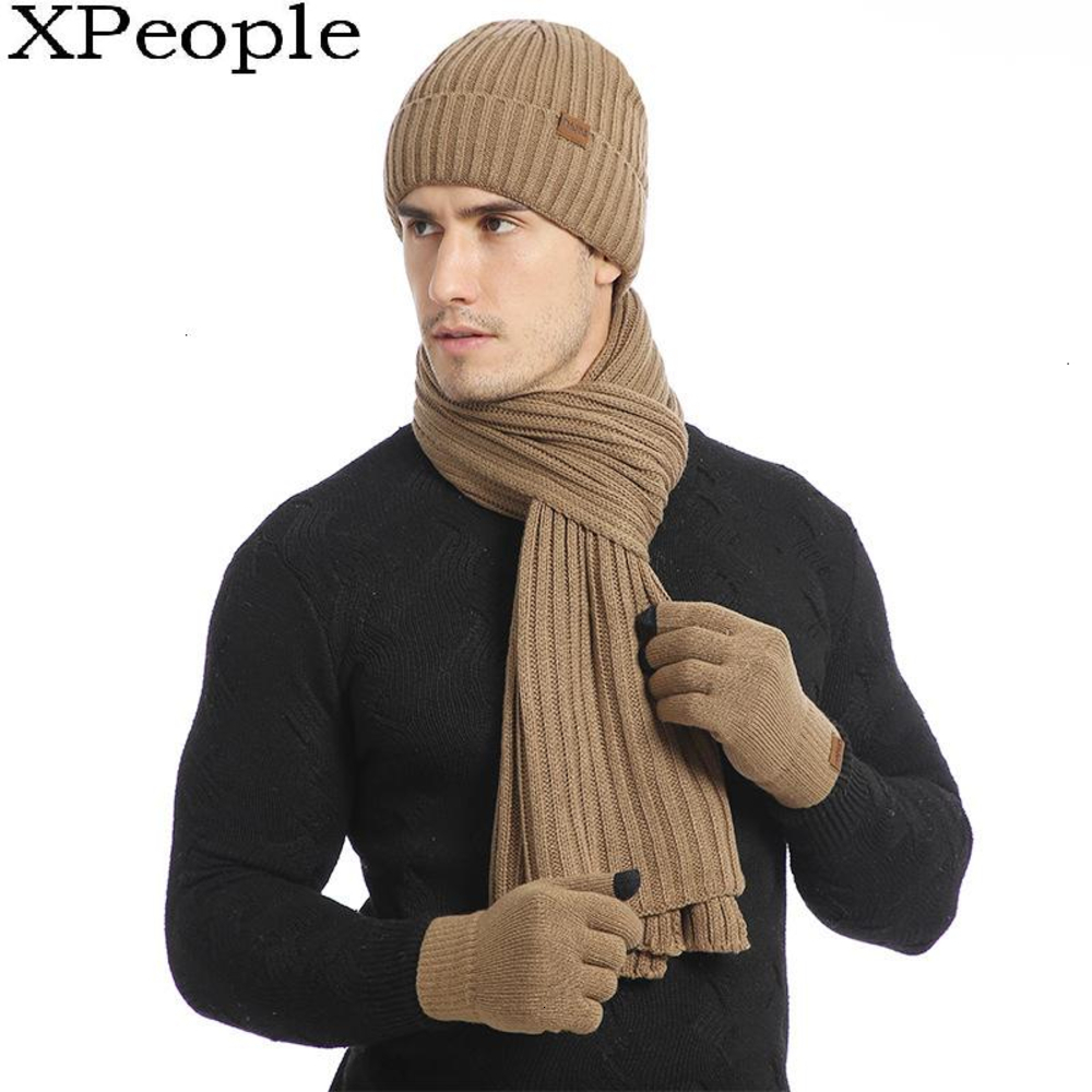 XPeople Hat And Glove Scarf Boys Set Soft Fleece Lined Warm Winter Men 3 PCS Knitted Set Knit Hat