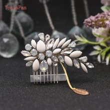 TOPQUEEN Beautiful Bride Headdress Comb Hair Accessories Clip Hair Pins for Women Hair Jewelry Bridal Hair Ornaments HP318(China)