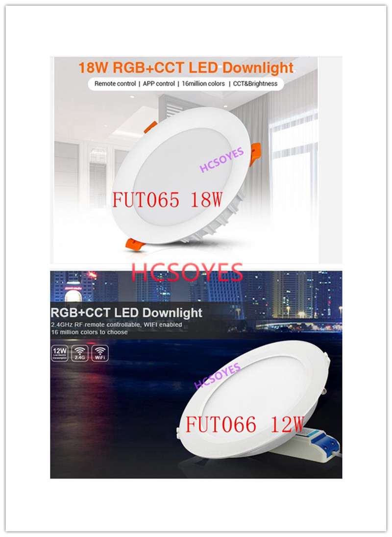 Milight FUT065 FUT066 /12W 18W LED Downlight RGB+CCT AC110 220V Brightness Adjustable Wireless WIFI APP Control AC100-240V