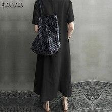 ZANZEA 2020 Women Long Maxi Summer Dress Casual Cotton Linen  Ladies Big Pockets Beach Party Robe Femme Vestidos Plus Size 5XL
