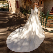 Verngo A-line Wedding Dress Ivory Satin With a Bow Simple Bride Backless Weeding Gowns Suknie Slubne